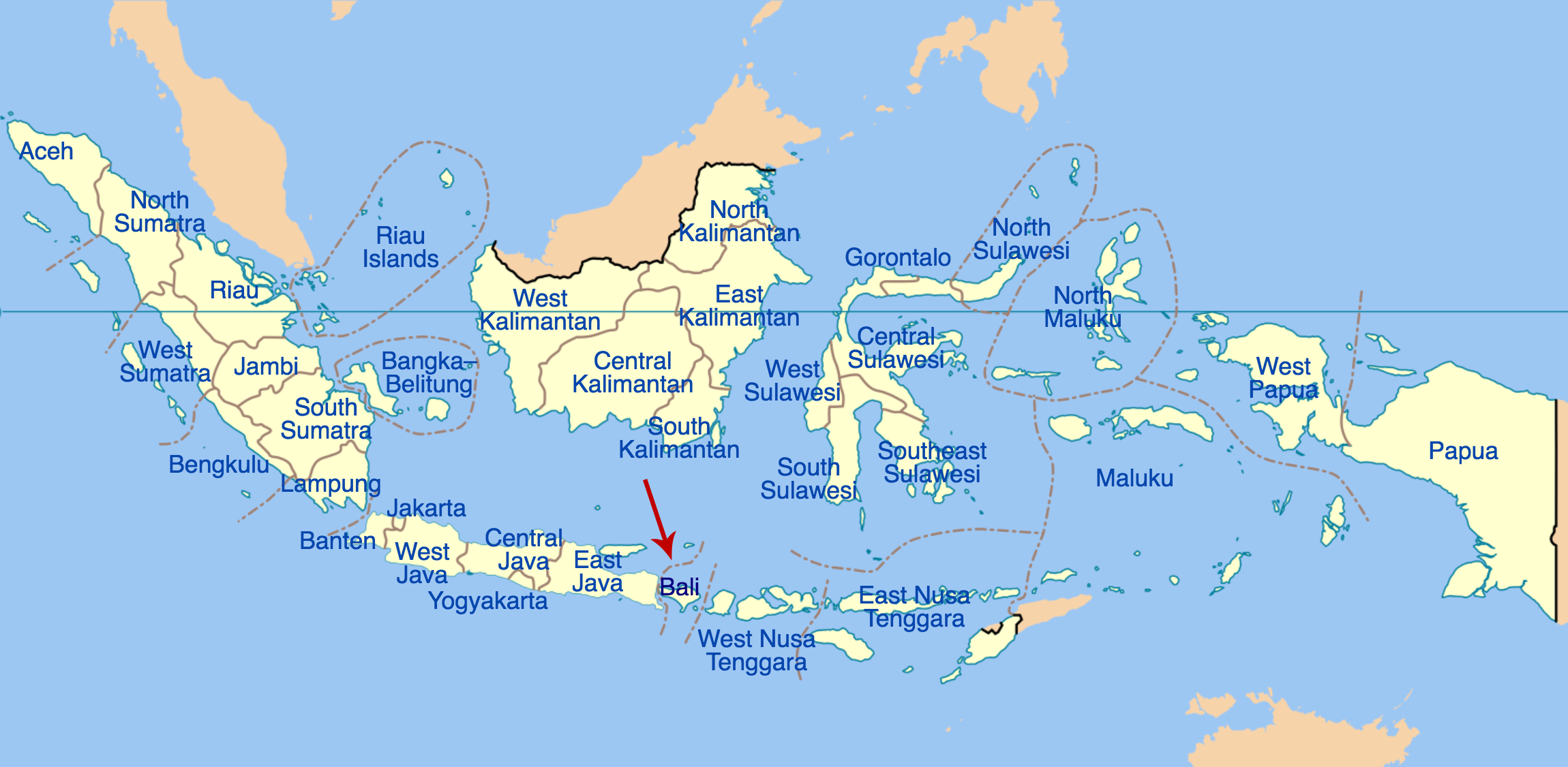 Map showing Indonesia's provinces with an arrow pointing out Bali's location.