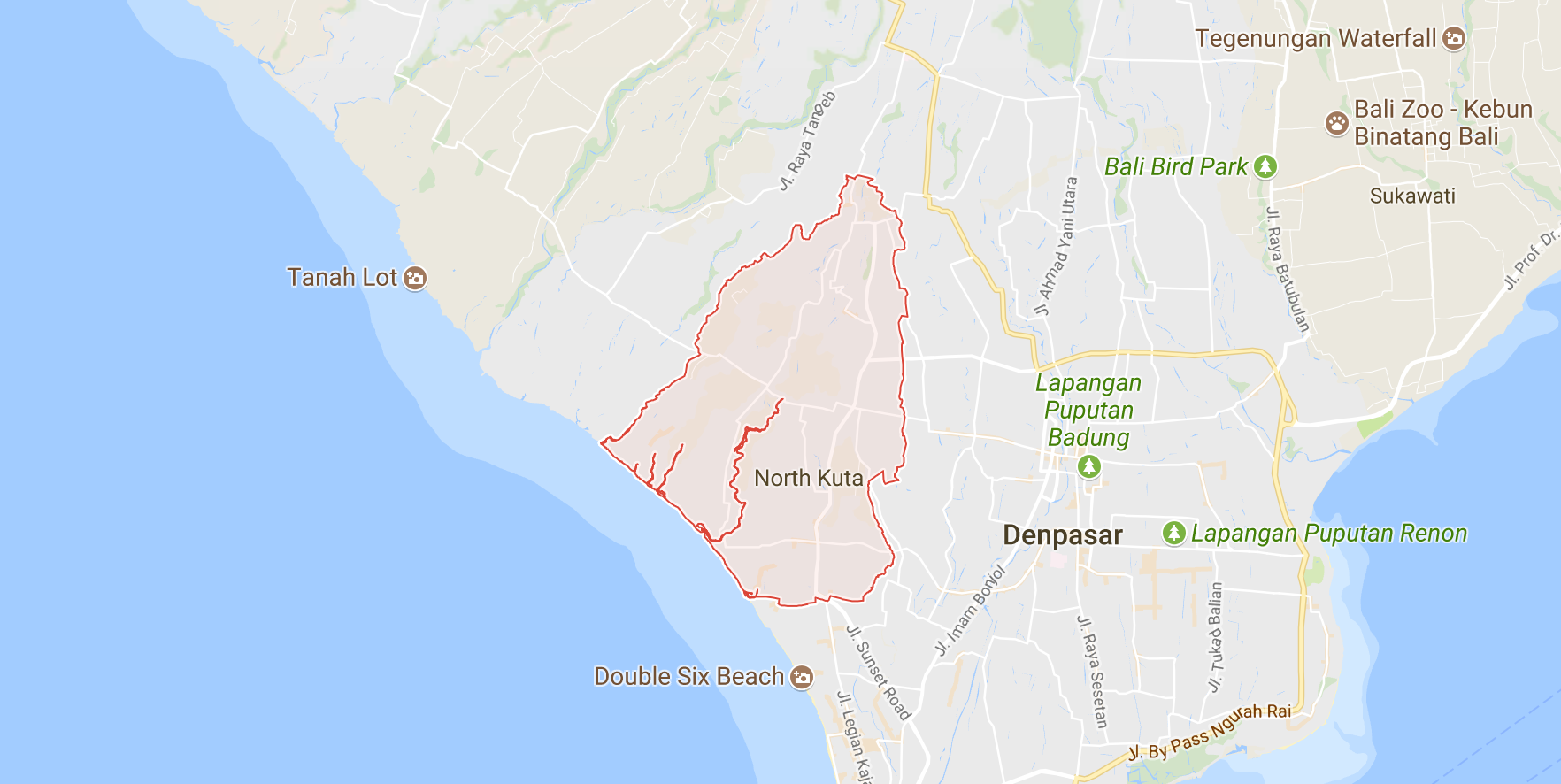 Map showing North Kuta's boundaries